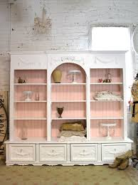 White Cottage Bookcase by Painted Cottage Shabby White Farmhouse China Cabinet Bookcase