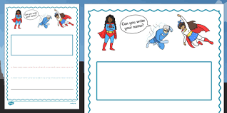 superhero themed name writing worksheet portrait fun