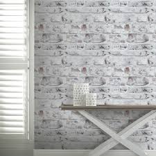 Light Blue Walls Related Keywords by Arthouse Painted Brick Pattern White Washed Realistic Wallpaper