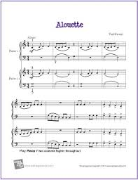 alouette duet free easy piano sheet