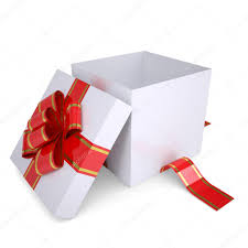open white gift box decorated with a red ribbon u2014 stock photo