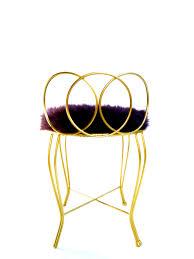 Metal Vanity Stool Vtg Hollywood Regency Gold Metal Aubergine Royal Purple Faux Fur