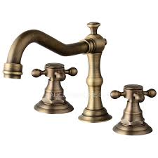 vintage antique brass three cross handle bathroom faucet