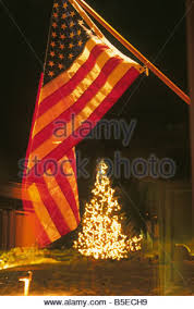 American Flag Christmas Lights Christmas Ornament And American Flag On The The Side Of An