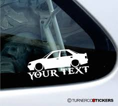 peugeot 405 mi16 2x custom your text lowered car stickers peugeot 405 mi16 16v
