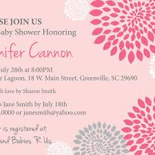baby shower invitations white and pale pink and grey