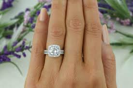 square engagement rings with halo 2 25 ctw classic square halo engagement set made