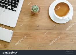 Top Of Coffee Cup Wooden Desk Table Computer Laptop External Stock Photo 634395395
