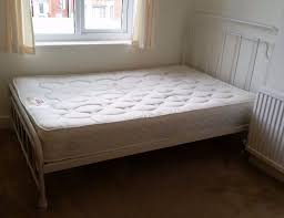 White Small Double Bed Frame by 4ft Small Double Bed Vintage Dormitory Hospital Style White