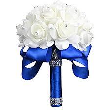 Wedding Flowers Roses Amazon Com Wedding Bouquet Febou White Bridesmaid Bouquet Bridal