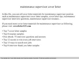 Maintenance Supervisor Resume Sample by Maintenance Supervisor Cover Letter