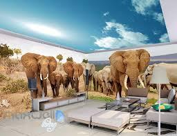 3d elephant africa grassland wall murals wallpaper decals art