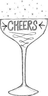 martini glass vector hand drawn doodle style champagne glass with cheers u2022 royalty