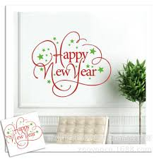 new year sticker happy new year green walls stickers glass diy decorative