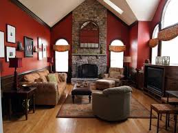 red and brown living room ideas colorful cushions black sofa grey