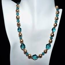 necklace designs with crystals images Swarovski blue green indicolite crystal and gold necklace and JPG