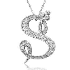 s necklace beautiful cursive font s initial pendant necklace for