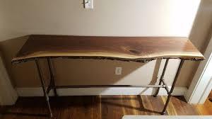live edge computer desk live edge black walnut entry way table reclaimed re purposed