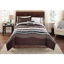 Modern Bedding Sets Mainstays Grey Blue Stripe Bed In A Bag Walmart Com