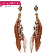 one side feather earring earrings online artificial jewellery store in pakistan