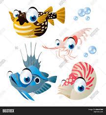cute vector comic cartoon fish set vector u0026 photo bigstock