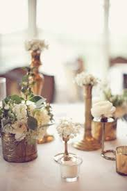 Vase Wedding Centerpiece Ideas by Antique Brass Vases And White Flowers Reception Decor Ideas 1