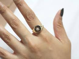 signet wedding ring polaris signet ring diamond signet ring minimalist signet