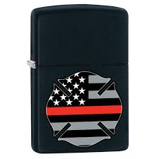 Americana Flags Thin Red Line Firefighter Symbol Black Matte Windproof Lighter