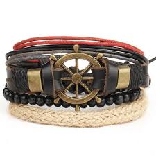 leather bracelet with buckle images 1 set 4pcs leather bracelet men 39 s multi layer bead bracelet jpg