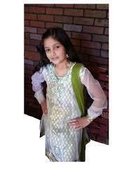 net churidar kurta for girls in green u0026 cream color indian clothing