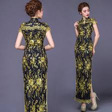 long gold floral black gauze lace party cheongsam chinese dress