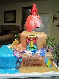 mymonicakes luau tiki mask volcano cake