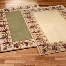 Grape Kitchen Decor Rectangle Cream And Green Rug With Grapes Pictures Borders