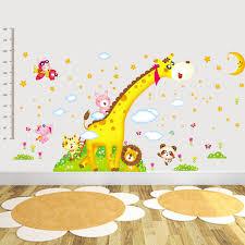 stickers animaux chambre b girafe de bande dessinée singe animaux hauteur wall sticker chambre