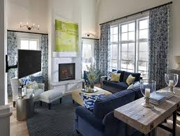 beige and navy living room stony fireplace tile white english