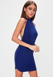 blue bodycon dress blue halterneck backless bodycon dress missguided