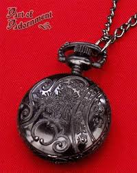 pocket watch chain necklace images Gothic gunmetal black pocket watch pendant necklace art of adornment jpg