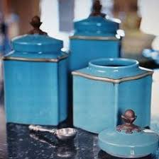 blue kitchen canister kitchen canister set italy vintage set of by dawnsvintagedecor