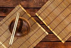 Bamboo Table Top by Bamboo Mat On Wooden Table Top View Stock Photo Image 81155842