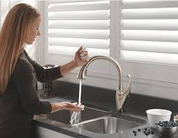 brizo kitchen faucets stainless steel touch free kitchen faucet wall mount two handle