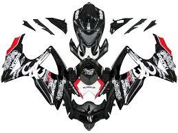 gsxr emblem fairings suzuki gsxr 600 750 black red relentless racing 2008