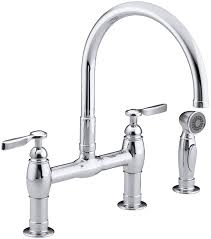 kohler gooseneck kitchen faucet kohler k 6131 4 2bz parq two deck mount bridge kitchen sink