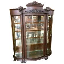 curved glass china cabinet oak curved glass china cabinet carved faces paw feet roberts