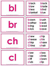 beginning consonant blends flashcards with 8 words per blend