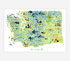 State Of Washington Map by Forest And Waves State Of Washington At Buyolympia Com