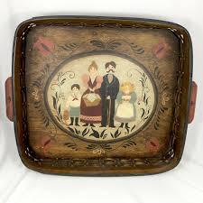 large vintage hand painted swedish folk art woven wood basket