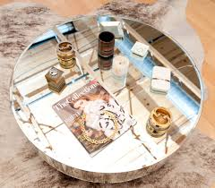 small mirrored coffee table top view round modern mirrored coffee table for small living room