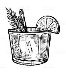 old fashioned cocktail drawing alcoholic cocktail hand drawn sketch stock vector art 638203920