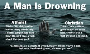 Atheist Vs Christian Meme - a response to the man is drowning meme friendly atheist