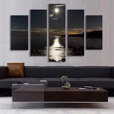 5 panel wall art moon picture night sea landscape painting for